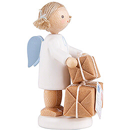Flax Haired Angel with Christmas Gifts - 5 cm / 2 inch